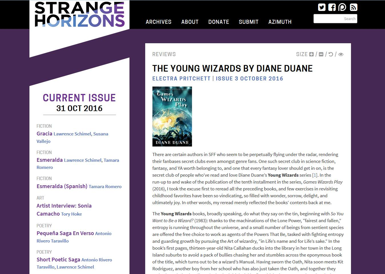 From Strange Horizons: €�the Young Wizards""